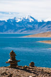 Buddhist stone pyramid at Tso Moriri Lake. Himalaya mountains. India Royalty Free Stock Photography