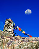 Buddhist stone tower with praying flags. Himalaya Stock Images
