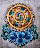 Buddhist stucco molding. On temple walls, India Stock Photo