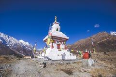Buddhist stupa in Himalayan mountains. Annapurna circuit trek. Buddhist stupa. Annapurna circuit trek. Himalayan mountains of Nepal royalty free stock photo