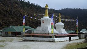 The Buddhist stupa. On the hiking trail to the base camp of Everest stock footage