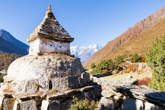 Buddhist stupa eyes in Nepal mountains. Stock Image