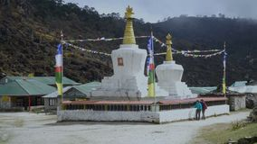 The Buddhist stupa. On the hiking trail to the base camp of Everest stock video