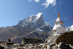 Buddhist Stupa in Himalaya. Buddhist Stupa in the mountains in Nepal Royalty Free Stock Photos