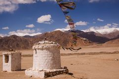 Buddhist stupa on himalaya highlands in Ladakh. Kashmir. Stock Photography
