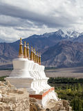 Buddhist stupa and Himalayas mountains. Shey Palace in Ladakh, India Royalty Free Stock Photos