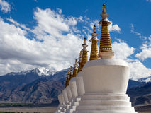 Buddhist stupa and Himalayas mountains. Shey Palace in Ladakh, India Royalty Free Stock Photography