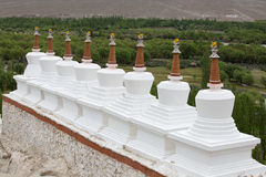 Buddhist stupa and Himalayas mountains . Shey Palace in Ladakh, India Royalty Free Stock Image