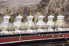 Buddhist stupa and Himalayas mountains .  Thiksey Monastery,  Leh , Ladakh, India Stock Image