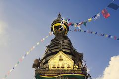 Buddhist stupa in Kathmandu valley, Nepal. Swayambhunath Monkey Temple.  royalty free stock photos