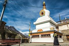 Buddhist stupa in Manang. Royalty Free Stock Photography