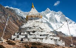 Buddhist stupa with mount Lhotse Royalty Free Stock Image
