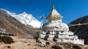 Buddhist stupa with mount Lhotse Stock Images