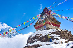Buddhist stupa in mountains. Everest region, Nepal Royalty Free Stock Photography