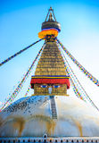 Buddhist stupa in mountains, Manaslu region, Nepal Stock Image