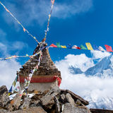 Buddhist stupa in mountains, Nepal Royalty Free Stock Images