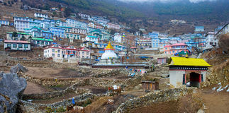 Buddhist stupa in Namche Bazar, Everest region, Nepal Royalty Free Stock Images