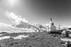 Buddhist stupa near Ice Lake 4600m. Nepal, Annapurna Circuit. Black and white image stock photo