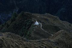 Buddhist Stupa in Nepal mounting. Nepal Sagarmatha area Royalty Free Stock Image