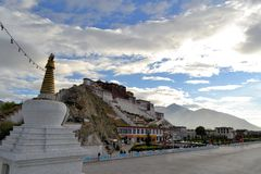 Buddhist stupa and Potala palace in Tibet Royalty Free Stock Photography