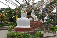 Buddhist stupa with prayer flags in Swayambhunath, Kathmandu, Ne Stock Image