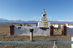 Buddhist stupa in the Tunkinsky valley against the Sayan mountains Stock Photo