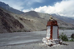 Buddhist stupa in Upper Mustang. Royalty Free Stock Photo