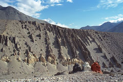 Buddhist stupa in Upper Mustang. Royalty Free Stock Photography