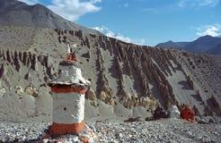Buddhist stupa in Upper Mustang. Buddhist ritual constructions Stupa near Tengbe village in Upper Mustang, Nepal Stock Images