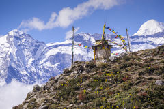 Buddhist stupa on the way to EBC on top of mountain. Stock Images