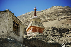 Buddhist stupas in Diskit Monastery, Ladakh, India Stock Photo