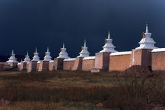 Buddhist stupas in Karakorum just before storm. Karakorum (Kharkhorin Harhorin) is the old capital for Mongolian Empire, Mongolia Stock Photography