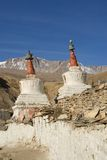 Buddhist white and red stupas in Karzok, Ladakh, Stock Images