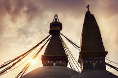 Buddhist stupas at sunset Royalty Free Stock Images