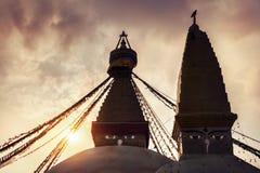 Buddhist stupas at sunset Royalty Free Stock Images