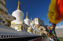 Buddhist stupas at Thiksey Monastery in Leh,Ladakh Stock Photo