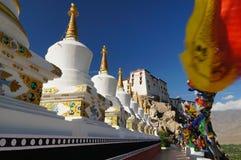 Buddhist stupas at Thiksey Monastery in Leh,Ladakh Stock Photo