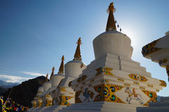 Buddhist stupas at Thiksey Monastery in the morning, Ladakh, Ind Stock Images