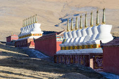 Buddhist stupas at a Tibetan monastery at Madoi County Royalty Free Stock Photo
