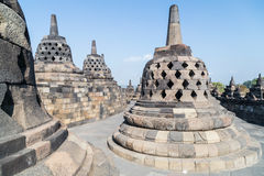 Buddhist stupas at the top of the Borobudur  temple Stock Image