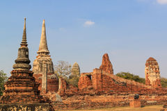 Buddhist stupas, Wat mahathat in Thailand Stock Photography