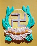 Buddhist swastika. The left facing swastika is a religious symbol thousands of years old. Swastikas are common icons in India and other Asian countries with royalty free stock image