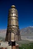 Buddhist Symbol. A metallic bell hanging in the Karsha Gompa in Zanskar stock images