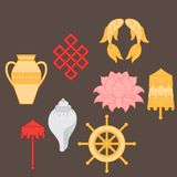 Buddhist symbolism, The 8 Auspicious Symbols of Buddhism, Right-coiled White Conch, Precious Umbrella, Victory Banner, Golden Fish Stock Photography