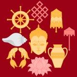 Buddhist symbolism, The 8 Auspicious Symbols of Buddhism, Right-coiled White Conch, Precious Umbrella, Victory Banner, Golden Fish Stock Photos