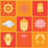 Buddhist symbolism, The 8 Auspicious Symbols of Buddhism, Right-coiled White Conch, Precious Umbrella, Victory Banner, Golden Fish Royalty Free Stock Image