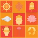Buddhist symbolism, The 8 Auspicious Symbols of Buddhism, Right-coiled White Conch, Precious Umbrella, Victory Banner, Golden Fish. Dharma Wheel, Auspicious stock illustration