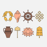 Buddhist symbolism, The 8 Auspicious Symbols of Buddhism, Right-coiled White Conch, Precious Umbrella, Victory Banner, Golden Fish Royalty Free Stock Photography