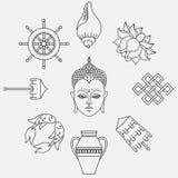 Buddhist symbolism, The 8 Auspicious Symbols of Buddhism, Right-coiled White Conch, Precious Umbrella, Victory Banner, Golden Fish Stock Image