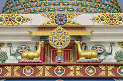 Buddhist symbols art on temple in Lumbini, Nepal Royalty Free Stock Image